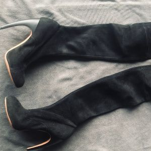 ALAIA Black Suede Knee High Boots